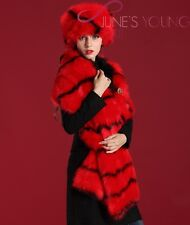 Free Shipping 2014 Winter Thick Warm Fur Snow Hat Scarf Set Women Hats Red Warm