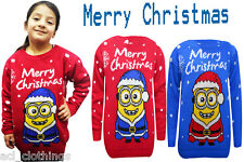 New Kids Unisex Merry Christmas Novelty Knitted Jumper Inspired By Minion 5-10Yr