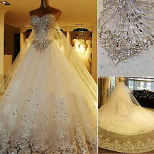 Amazing 2014 Crystals Cathedral Luxury Wedding Gowns Bride Dresses Custom