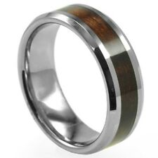 SZ 7-15 8MM Stainless Steel Ring Wedding Engagement Wood Inlay Graduation Class