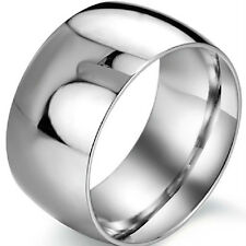 12MM Ring SZ 7 8 9 10 11 12 13 14 15 Stainless Steel Wedding Anniversary Biker