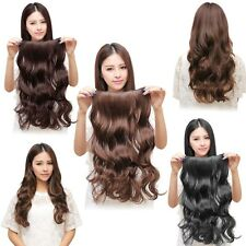 Long Wavy Curly One Piece Clip In Synthetic Human Hair Extensions Hair 5 Clips