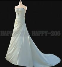 2015 Slinky Satin Strapless A-line Wedding dress Bridesmaid Bridal Gown 6++++16