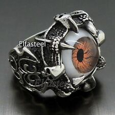 Men Dragon Eye Claw 316L Stainless Steel Skull Biker Ring