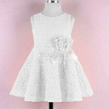 Elegant Kids Baby Girls Sleeveless Solid Lace Princess Party Mini Dress 2-7Year