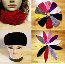 Women's Lady's Winter Flower Crochet Knit Head Wrap Headband Ear Warmer Muffs