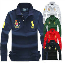 2014 Mens long-sleeved loose Badge Polo Shirt 7  Colors Choose M-3XL YF81