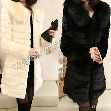 Women Winter Faux Rabbit Fox Fur Collar Jackets Coat Long Section Padded Outwear