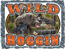 WILD HOG HUNTING HOGGIN WITH DOGS WILDLIFE PRINTED T-SHIRT SMALL-4XL NEW