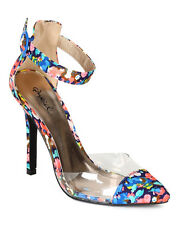 Qupid Potion108 New Women Fabric Floral Multi Lucite Ankle Strap Pointy Toe Pump