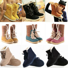 Winter Warm Ladies Lace Up Flat Heels Mid Calf Shoes Fur Lined Ankle Snow Boots