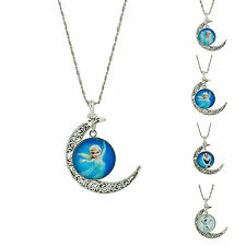 Snowman Frozen Elsa Or Olaf pendant Vintage Silver  chain necklace jewelry
