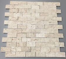 1x2 Ivory Travertine Split-Faced & Tumbled Brick Tile US Seller