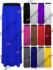 WOMENS LADIES ELASTICATED LONG JERSEY MAXI DRESS GYPSY SKIRTS PLUS SIZES 8-26