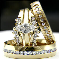 Gold Plated 0.9ct CZ Solitaire Women's Engagement Man's Wedding Bridal Ring Sets