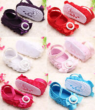 Baby Girls Rose Floral Bowknot Princess Shoes Soft Sole Crib Toddler Shoes 0-18M