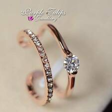 18K Rose Gold Plated Delicate Double Band SWAROVSKI Crystal Pinkie Finger Ring
