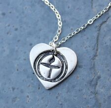 Flame in the Chalice Necklace -Unitarian Universalist handmade fine silver heart