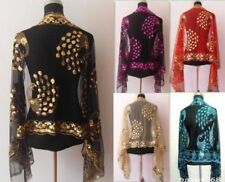 New Lady Women's Sequins Soft Long Shawl Scarf Wrap Peacock Flower Design Stole