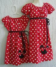 Mother & Daughter Matching Dress Minnie Mouse 70's Insprd Red Size S M L Cotton