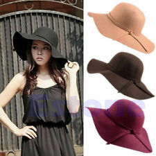 New Style Soft Women Vintage Floppy Wide Brim Wool Felt Bowler Fedora Cloche Hat