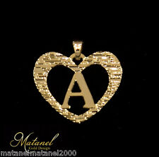 24k Gold Plated Beautiful Initial Pendant Personalized Heart Charm A-Z