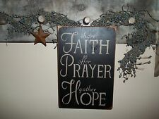 Wood Sign FAITH AND PRAYER Inspirational Rustic Country Home Wood Decor Sign