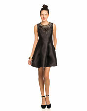 Cynthia Rowley Silk/Wool Party Dress with Necklace Beading