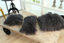 Mongolian Sheepskin Wool Cushion Genuine Long Curly Fur Pillow Cover