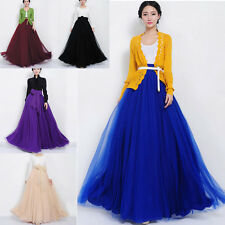New Womens Elastic Waist Band Dress Summer Chiffon Double Layer Long Maxi Skirt