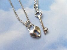 Key to My Heart Sterling Silver Couples Necklace Set .925 heart lock & key charm
