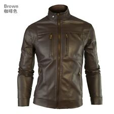 New Mens Black Fit Washed Zip Slim Warm Motorcycle Faux Leather Top Coat Jacket