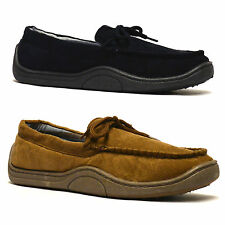 Mens New Faux Leather Suede Soft Warm Lined Winter Moccasin Slippers Shoes Size