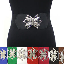 WOMEN ELASTIC BELT stretch Waistband Silver Metal Rhinestone Flower BUCKLE Wide