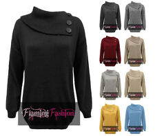 New Womens 3 Button Cowl Neck Pullover Ladies Sweater Jumper Top Plus Size 16-26
