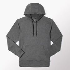 Men's Adidas Ultimate Fleece Hoodie Grey Pullover Athletic Sport M35404  S - 2XL