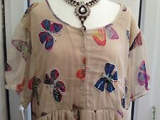 PLUS SIZE NEW CREAM LINED,BEADED BUTTERFLY TOP 16 t0 22/24 SALE ON REDUCE PRICE