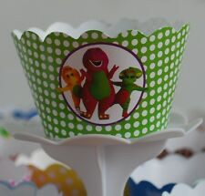 """12 kids Party """"BARNEY & FRIENDS"""" Cupcake Wrappers - WORLDWIDE FREE SHIPPING"""
