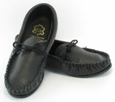 Mokks Mens Leather Hand Made Black Casual Moccasins Moccs Slippers Shoes