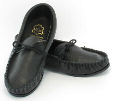 Leather Hand Made Mens Black Casual Moccasins Moccs Slippers Shoes sizes 6 to 13