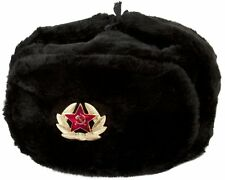 Authentic Russian Ushanka Military hat w/ SOVIET ARMY BADGE