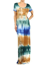 PLUS SIZE BROWN GREEN TIE DYE SCOOP NECK SHORT SLEEVE SILKY MAXI DRESS 1X 2X 3X