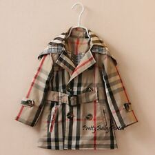 NEW GIRLS Kid's Clothes double-breasted Belted Trench Coat Wind Jacket Outwear