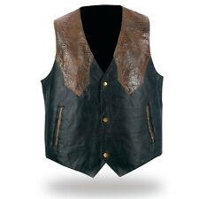 Genuine Leather Western Style Sewn Pebble Vest - FREE SHIPPING