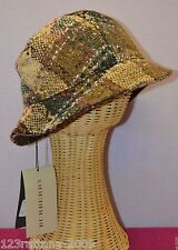Authentic Burberry London Women's Bucket Hat Wool Check S M  Brown NWT $250
