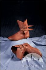 Medieval Costume , Classic Medieval Demi-boots Shoes With Handmade Brass Clasp