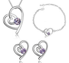 3pcs new heart design silver plated necklace earring bracelet jewelry sets gift