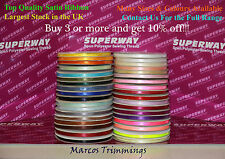 Satin Ribbon Double Faced Various Colours 3mm 6mm 10mm 15mm 25mm 50mm