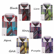 New Men's Dress Shirt Check Design French Cuff  Spread Collar Tie&Hanky  A626