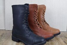 WOMEN'S MILITARY COMBAT ARMY BOOTS WITH ZIPPER FLAT HEEL BLACK LACE UP NEW SIZE